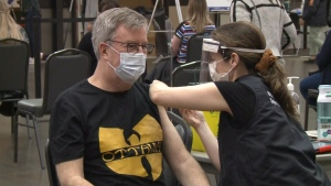 Ottawa mayor Jim Watson receives his first dose of a COVID-19 vaccine at the Nepean Sportsplex. May 5, 2021. (Ian Urbach / CTV News Ottawa)