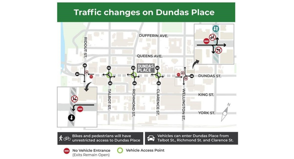 Traffic changes on Dundas Place