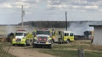 The Warburg, Thorsby and Calmar districts all sent firefighters to an address on Range Road 13 on May 4, 2021, where about 30 bales were on fire.