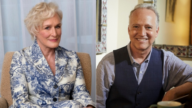 """Glenn Close, nominated for an Oscar for best actress for her role in """"The Wife,"""" poses at the 91st Academy Awards Nominees Luncheon in Beverly Hills, Calif., on Feb. 4, 2019, left, and musician Ted Nash poses for a portrait in New York on May 4, 2021. Close is releasing an album with the Grammy-winning jazz saxophonist-composer on Friday. """"Transformation: Personal Stories of Change, Acceptance, and Evolution,"""" is an 11-track spoken word jazz album that tackles heavy topics like race, politics and identity. (AP Photo)"""