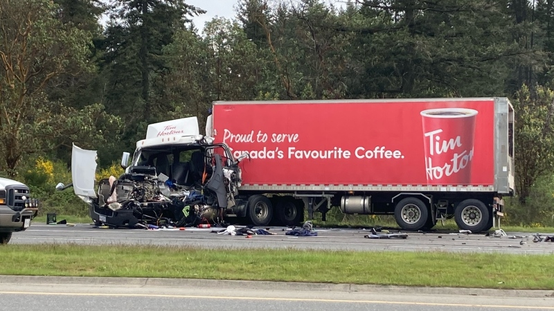Two trucks collided on the Nanaimo Parkway on Wednesday, May 5, 2021. (CTV News)