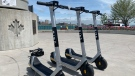 E-scooters stolen in Windsor, Ont., on Tuesday, May 4, 2021. (Rich Garton / CTV Windsor)
