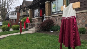 The Healing of the Seven Generations held a Red Dress Day gathering on Wednesday at their headquarters on Frederick Street. (Dan Lauckner/CTV News Kitchener)