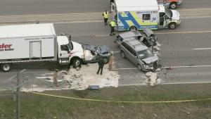 At least four vehicles were involved in a collision in Hamilton, Ont. on May 5. (CTV News Toronto)