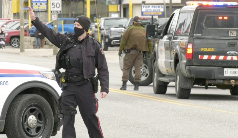 The North Bay Police Service said Wednesday afternoon that the situation in the area of Lee Avenue, Lakeshore Drive, and MacDonald Avenue East has ended. (Eric Taschner/CTV News)