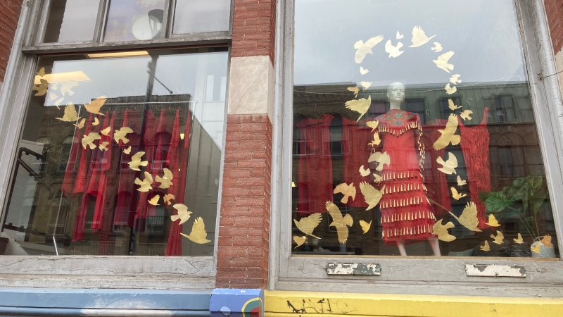 A display to mark REDress Day is seen at Atlohsa Family Services in London, Ont. in May 2021.