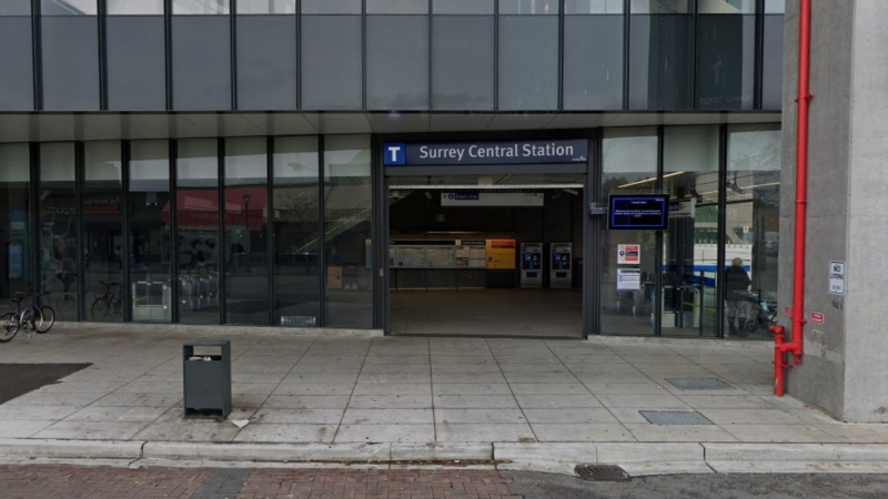 The entrance to the Surrey Central SkyTrain Station is seen in a Google Maps image captured in November 2020.