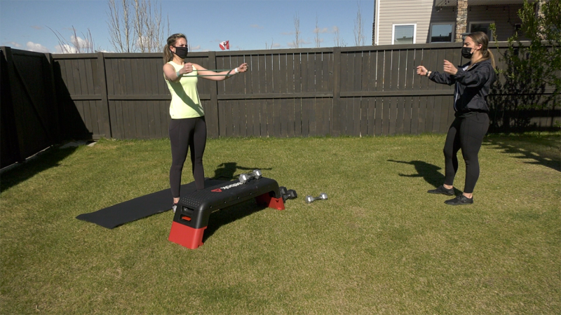 """Personal trainer and owner of """"On The Move"""" Ashley Lavallee trains a client before the new restrictions will force her to temporarily shift to virtual sessions."""