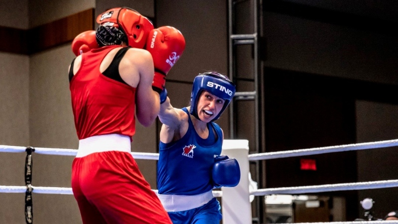 Kitchener boxer Mandy Bujold competes. (Supplied by Virgil Barrow)