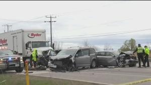 One dead in five-vehicle crash