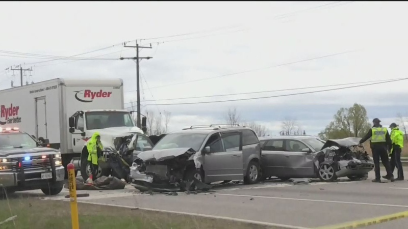 One dead in five-vehicle crash