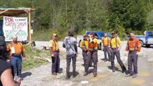 The argument erupted Tuesday, May 4, 2021, between forestry workers and anti-logging activists on Vancouver Island. (Rainforest Flying Squad)