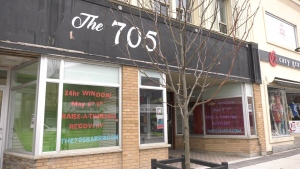 The 705 Recovery Community Centre storefront in Barrie will host a 24-hour Window Raise-a-Thon for Recovery. (Wed. May 5, 2021) Steve Mansbridge/CTV News