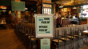 A sign at Bushwakker Brewpub for food and off sale pickup. (Marc Smith/CTV News)
