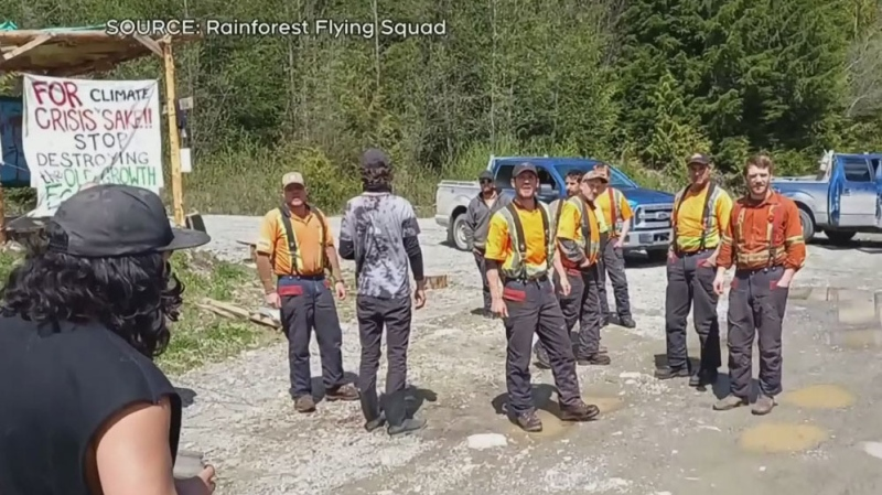 B.C. forestry workers, activists clash at blockade