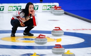 Team Canada skip Kerri Einarson directs her teammates against Estonia at the Women's World Curling Championship in Calgary, Alta., Wednesday, May 5, 2021.THE CANADIAN PRESS/Jeff McIntosh