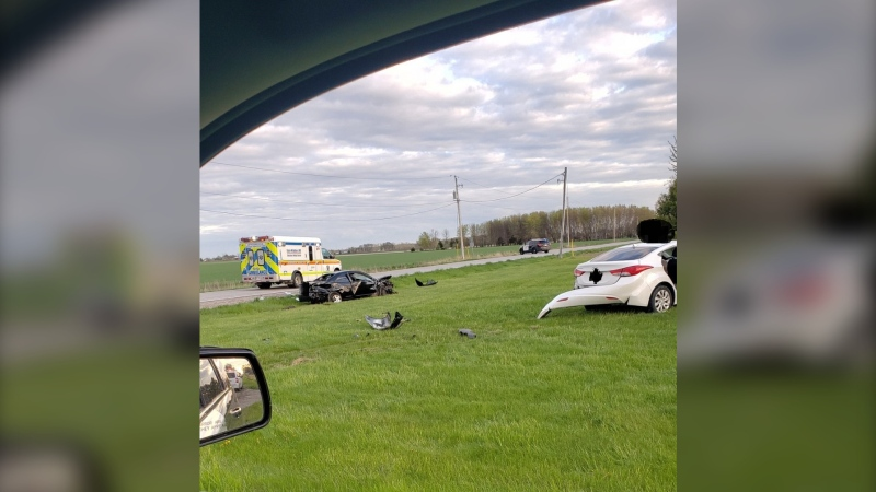 OPP officers were at the scene of the collision at the intersection of Mersea Road 12 and Mersea Road C in Leamington, Ont. on May 5, 2021. (Courtesy: OPP)