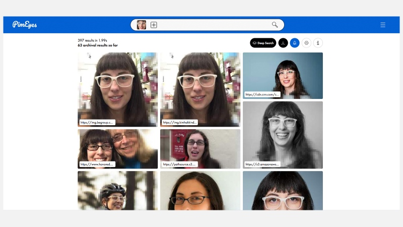 When CNN's Rachel Metz uploaded a picture of herself to PimEyes, it showed her other pictures of her it had found online. (PimEyes/CNN)