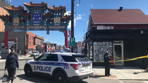 Police investigate a mid-morning shooting in Ottawa's Chinatown neighbourhood on May 6, 2021. (Jim O'Grady/CTV News Ottawa)