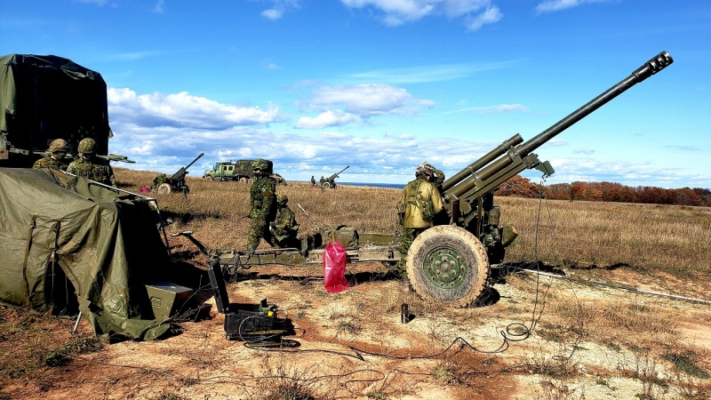 Canadian Armed Forces personnel will be conducting artillery training using large weapons called howitzers in Guelph's Woodlawn Memorial Park through May. The weapons will be unloaded. (Supplied by Guelph police)