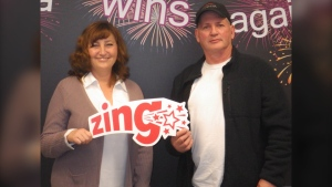 Winners Kerrine Stoll, from Chestermere, and Jim Gill, from Calgary, won $1.5 million on SUPER SET FOR LIFE lottery.