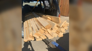 Saskatoon police say they recently seized a load of stolen lumber. (@SPSChesney/Twitter)