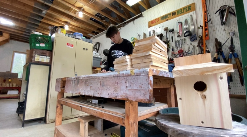 Sixteen-year-old Corin Leclair's birdhouse-building pass-time took flight as an online business. Chelsea, Que. May 3, 2020. (Tyler Fleming/CTV News Ottawa)