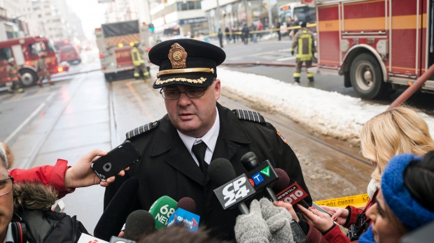 Toronto Fire Chief Matthew Pegg speaks to reporters in Toronto in this file photo from Tuesday, February 14, 2017. The Canadian Press/Christopher Katsarov