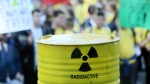 A container imitating one that would hold nuclear was is pictured at a protest in Novi Grad, Bosnia on Friday, Sept. 27, 2019. (AP Photo/Radivoje Pavicic)