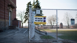 The outside of Regal Road Public School in Toronto is photographed on Wednesday, April 7, 2021. THE CANADIAN PRESS/Tijana Martin