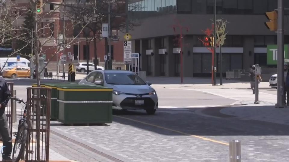 Dundas Place barricade