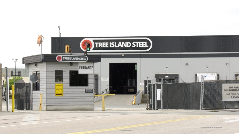 Tree Island Steel in Richmond, B.C., is seen on May 6, 2021, one day after a woman died in an industrial accident.