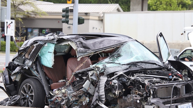 A damaged vehicle is pictured at the scene of a crash in Surrey on Thursday, May 6, 2021.