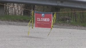 A boat ramp in Simcoe County is closed under the current stay-at-home order on Thurs. May 6, 2021 (Roger Klein/CTV News)