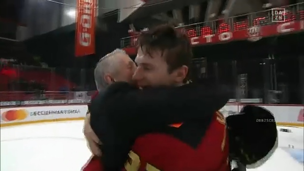 Former Calgarian Corban Knight and former Flames coach Bob Hartley are champions of the KHL in Russia