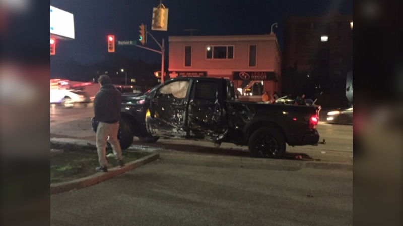 Two trucks were damaged in a collision at the intersection of Bayfield Street and Sophia Street West in Barrie, Ont. on Thurs., May 6, 2021. (Steve Mansbridge/CTV News Barrie)