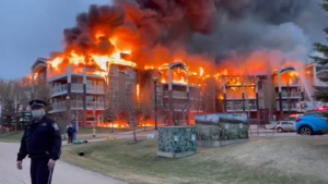 The entire roof of the Citadel Mews retirement home was engulfed in flames Thursday evening (Courtesy of Sandy Shaw-Gil).