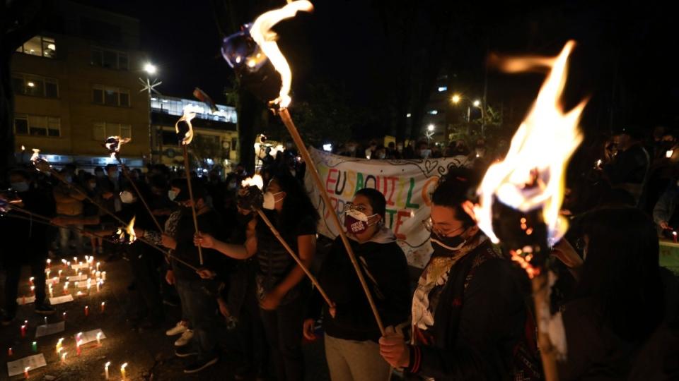A vigil in Bogota, Colombia