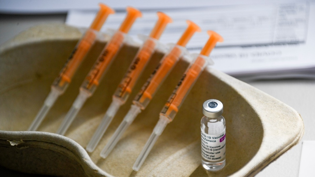 Vial and syringes of the AstraZeneca COVID-19 shot