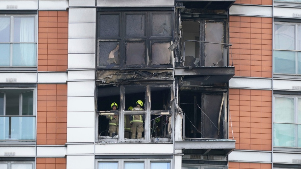 Fire-damaged New Providence Wharf in London