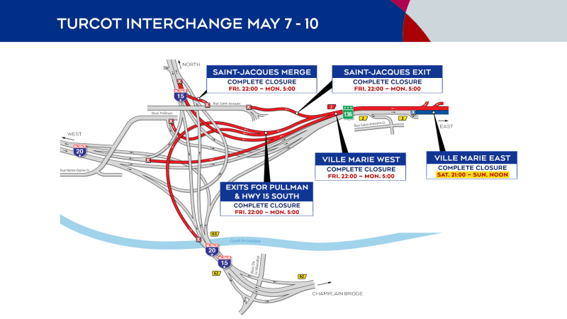 Closures in the Turcot Interchange from May 7 to 10, 2021.