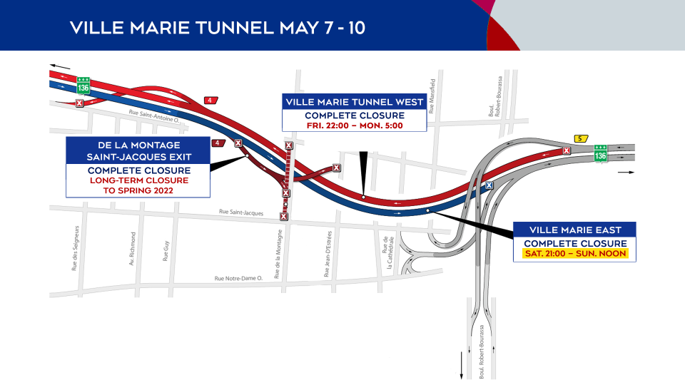 Ville-Marie Tunnel closures from May 7 to 10
