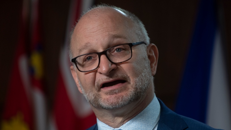 Justice Minister David Lametti delivers his opening remarks during a news conference in Ottawa, Friday May 7, 2021. THE CANADIAN PRESS/Adrian Wyld