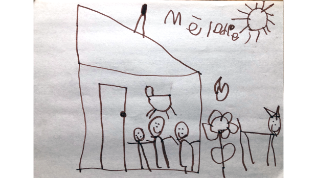 Mélodie, 4 years old. The picture is of a house, with people in the main floor and the bed upstairs. And outside is a heart, flower and her dog Caramel. And it's a sunny day