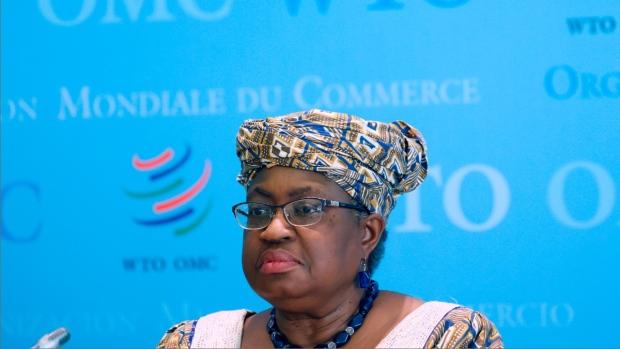 World Trade Organisation (WTO) Director-General Ngozi Okonjo-Iweala at WTO headquarters in Geneva, Switzerland, on April 1, 2021.  (Denis Balibouse / Pool via AP)