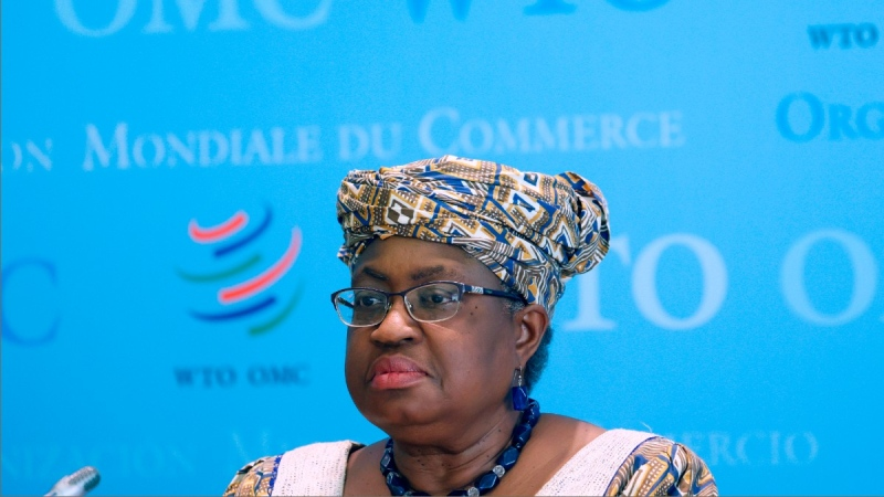 World Trade Organisation (WTO) Director-General Ngozi Okonjo-Iweala at WTO headquarters in Geneva, Switzerland, on April 1, 2021.  (Denis Balibouse / Pool via AP)
