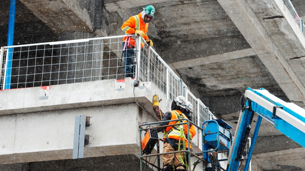 Construction workers in Montreal, Que.