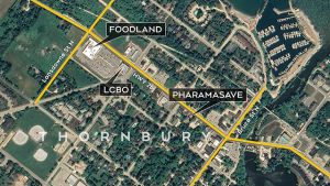 A map shows the area where three businesses were closed as a precaution on Thurs. May 6, 2021, following an online threat. (CTV News Barrie/Graphics)