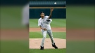 This June 11, 2019 file photo, Chicago rapper G Herbo throws a ceremonial first pitch before a baseball game between the Chicago White Sox and the Washington Nationals in Chicago. Federal prosecutors announced Wednesday, May 5, 2019 that the Chicago native, whose real name is Herbert Wright III, was charged with lying to federal investigators. In December, the 25-year-old G Herbo was among six people, including his promoter, indicted for conspiracy to commit wire fraud and aggravated identity theft. (AP Photo/Charles Rex Arbogast, File)