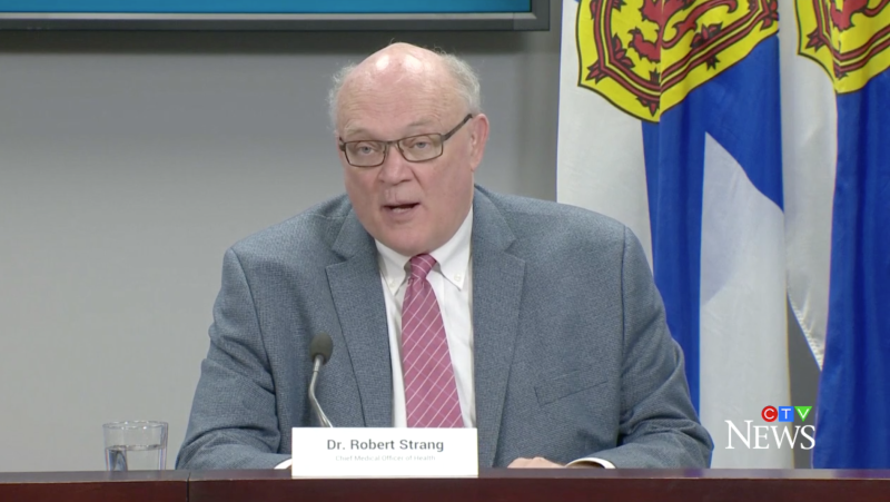 Nova Scotia chief medical officer of health Dr. Robert Strang provides an update on COVID-19 during a news conference in Halifax on May 7, 2021.